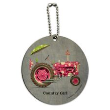 Farm Tractor Country Girl Pink Polka Dot Farming Round Wood Luggage ID Tag