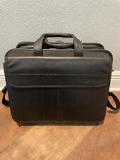 "Large Dell Black Leather Padded Laptop Messenger Bag Professional Briefcase 16"""