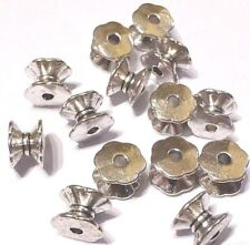 25 Antique Silver Spacer Beads Cotton Reel Charms LF CF NF Rondelles