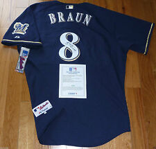 RYAN BRAUN 2011 NL MVP SIGNED MAJESTIC MILWAUKEE BREWERS AUTHENTIC #8 JERSEY MLB