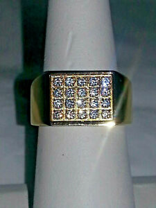 GOLD STAINLESS STEEL CUBIC ZIRCONIA MEN'S RING  . SIZE 8