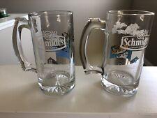 Vintage Schmidt Beer Large Mouth Bass Mug I And Mug 2 Geese Collectors Series