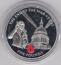 2005 GIBRALTAR V E DAY SILVER PROOF CROWN £5 CROWN IN A CAPSULE