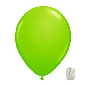 """10 Pack Lime Green Transparent Jewel Latex 11"""" Balloons w/ Matching Ribbon"""
