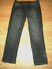 WHITE HOUSE/BLACK MARKET NOIR STRETCH EMBELLISHED DENIM CROP JEANS SIZE 4