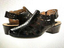 ROMIKA-'BARBADOS 06' Perforated Leather Sandals -BLACK  Sz. 5.5 M (36 EU)