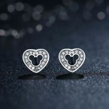 925 Sterling Silver Mickey Mouse Stud Earrings With CZ Stones