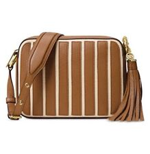 NWT Michael Kors Brooklyn Striped Leather Large Camera Crossbody Shoulder Bag