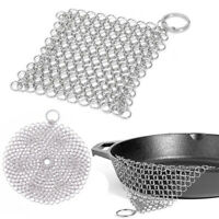 Cast Iron Cleaner Stainless Steel Chainmail Kitchen Tools Pan Scrubber Anti-rust