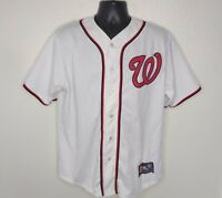 Majestic Mens Large MLB Jersey Washington Nationals Stitched White Baseball
