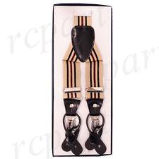 New Y back Men's Vesuvio Napoli Suspenders Braces clip on beige black Stripes