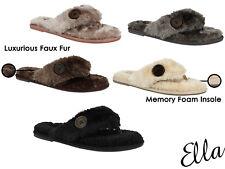 LADIES MEMORY FOAM ELLA BOOT SLIPPERS NEW WINTER WARM WOMENS FOLD OVER WOMENS