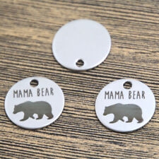 10pcs mama bear heart charm silver tone message charm pendant 20mm