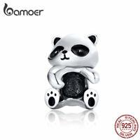 BAMOER Solid s925 Sterling silver Charm Bead Animal Panda Fit Bracelet Jewelry