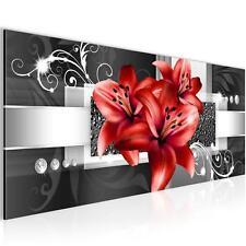 Bild Bilder Wandbild XXL 100x40 cm Lilien - Kunstdruck - Leinwand aus Vlies Chic