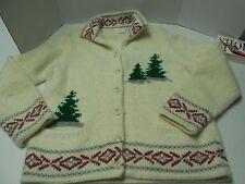Womens Size L Liz Clairborne Christmas Cardigan Sweater Lambs Wool/Angora Blend