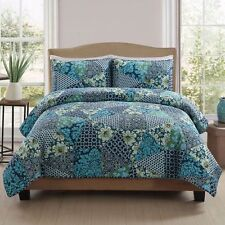 RETRO CHIC GYPSY COLLECTION QUEEN QUILT & 2 SHAMS PEM AMERICA DRESDEN TURQUOISE