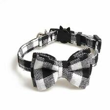 Eqarp Breakaway Cats Dogs Plaid Collars with Bell and Bow Tie Adjustable Safe.