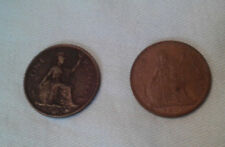 Lot of 2 UK England Coins - 1940 and 1963 Large Penny
