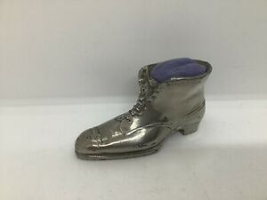 Vintage Silver Plated Ankle Boot Pin Cushion