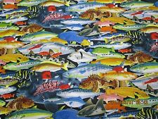 CATALINA ISLAND STACKED FISH by ELIZABETH STUDIOS 100% COTTON 1- 4 YD LOT