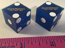 EL DORADO CASINO DICE 2 BLUE DICE USED ON CASINO TABLES RENO NEVADA FREE SHIP