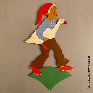 1940er Mertenskunst: Hans im Glück auf grünem Sockel 22cm Märchenholzbild Kinder