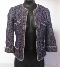 New TALBOTS Boucle Jacket Tweed Blazer - Sz 2 P - Purple / Beige