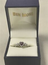 New 10k White Gold with Pink Heart Shaped Topaz & Diamond Ring