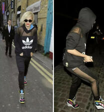 Adidas Rita Ora Black Mesh Tracksuit Top Hoodie & Joggers Pant Set Uk 8 S Small