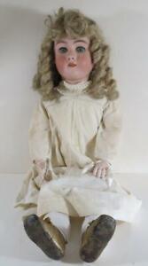 """Heinrich Handwerck Simon & Halbig 33"""" #7 Bisque Doll w/ Original Dress"""