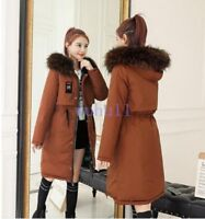 Women's Korean Winter Thicken Down Jacket Reversible Slim Hooded Coats Fashion