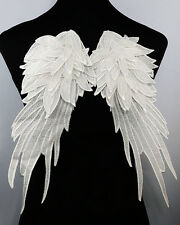 White Angel Wings Lace Embroidered Applique Fabric Shoulder Dorsal Sewing Craft