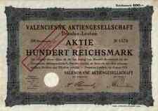 Valencienne AG puntas fábrica 1928 Dresde Leuben 1000 RM títulos históricos