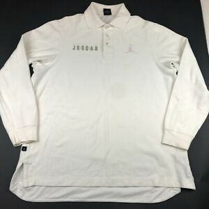 Jordan Mens Regular Fit White Long Sleeve Pink Embroidered Breast Cancer Polo L