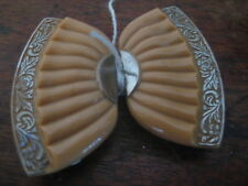 ART DECO czech glass & METAL FAN DESIGN BUCKLE