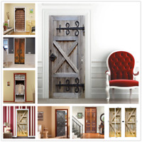 3D Door Wall Sticker Decal Self Adhesive Mural Scenery Fabric Home Outdoor Decor