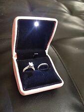 New 2 Double Dual Ring Box Wedding & Engagement Set or Bands Black Velvet