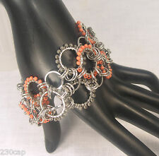 Steel Chain Link Bracelet Coral Orange Glass Beads 2 inches wide FREE SHIP U.S.