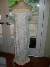 NEW IVORY STRAPLESS HAWAIIAN MUUMUU HULA WEDDING DRESS SZ XS