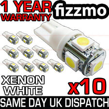 10x 5 SMD LED 501 T10 W5W PUSH WEDGE CAPLESS BRIGHT WHITE SIDE LIGHT BULBS L@@K
