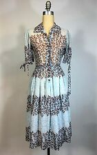 Vintage 1950's 50s Sweet gauzy leaf pattern dress w/copper button detail size XS