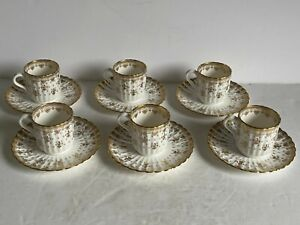 12pc (6x2) Lot FLEUR DE LYS Gold SPODE Bone China DEMITASSE CUPS and SAUCERS