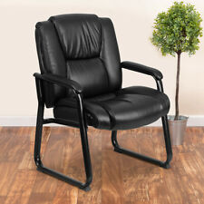 Big Amp Tall 500 Lb Rated Leather Tufted Executive Side Reception Chair With S