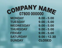 Opening Hours Times Shop Sign Vinyl Sticker Personalised Business Custom A3 A4