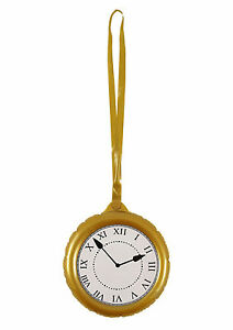 INFLATABLE JUMBO CLOCK PARTY SUPPLIES BLOW UP POCKET WATCH FANCY DRESS ALICE