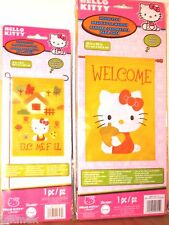 Hello Kitty Welcome Fall Flags Lot of 2 Autumn Colors, Leaves and Acorns! New