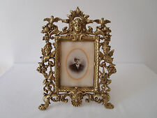 Superbe cadre bronze XIXème thème musique harpe trompette figurines mythologie