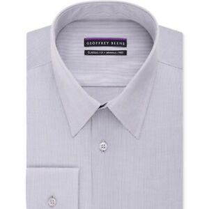 Geoffrey Beene (Brand New) Men's Gray Bedford Cord Dress Shirt Size 15 32/33