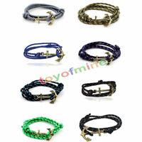 DamenHerren Multilayer Leder Handgefertigte Seil Wristband Anchor ArmbandArmreif